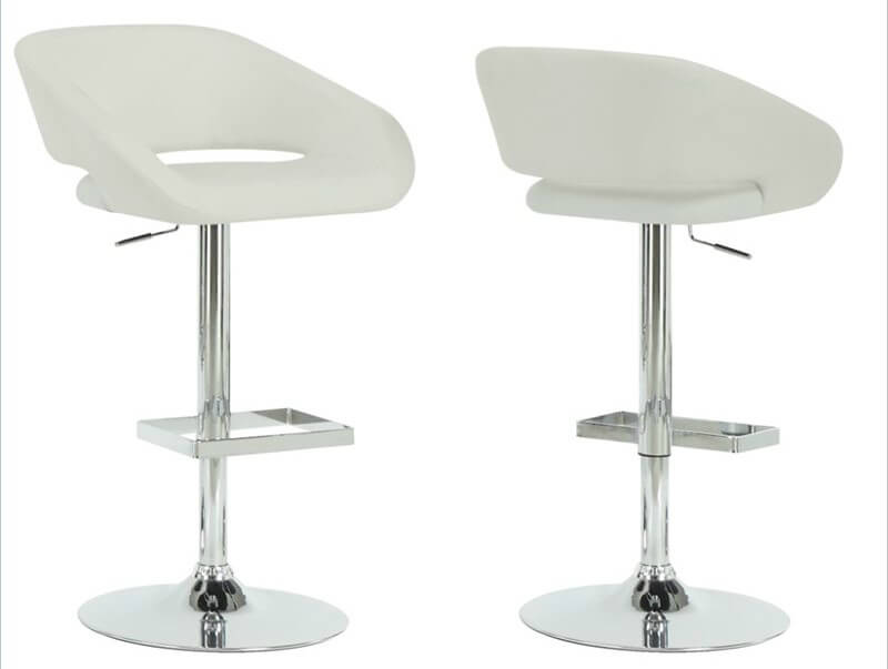 Modern Leather Bar Stools Part - 21: Open Back Adjustable White Stool This Faux Leather And Chrome Modern Stool  Is Designed With A Slight Open Back Forming A .