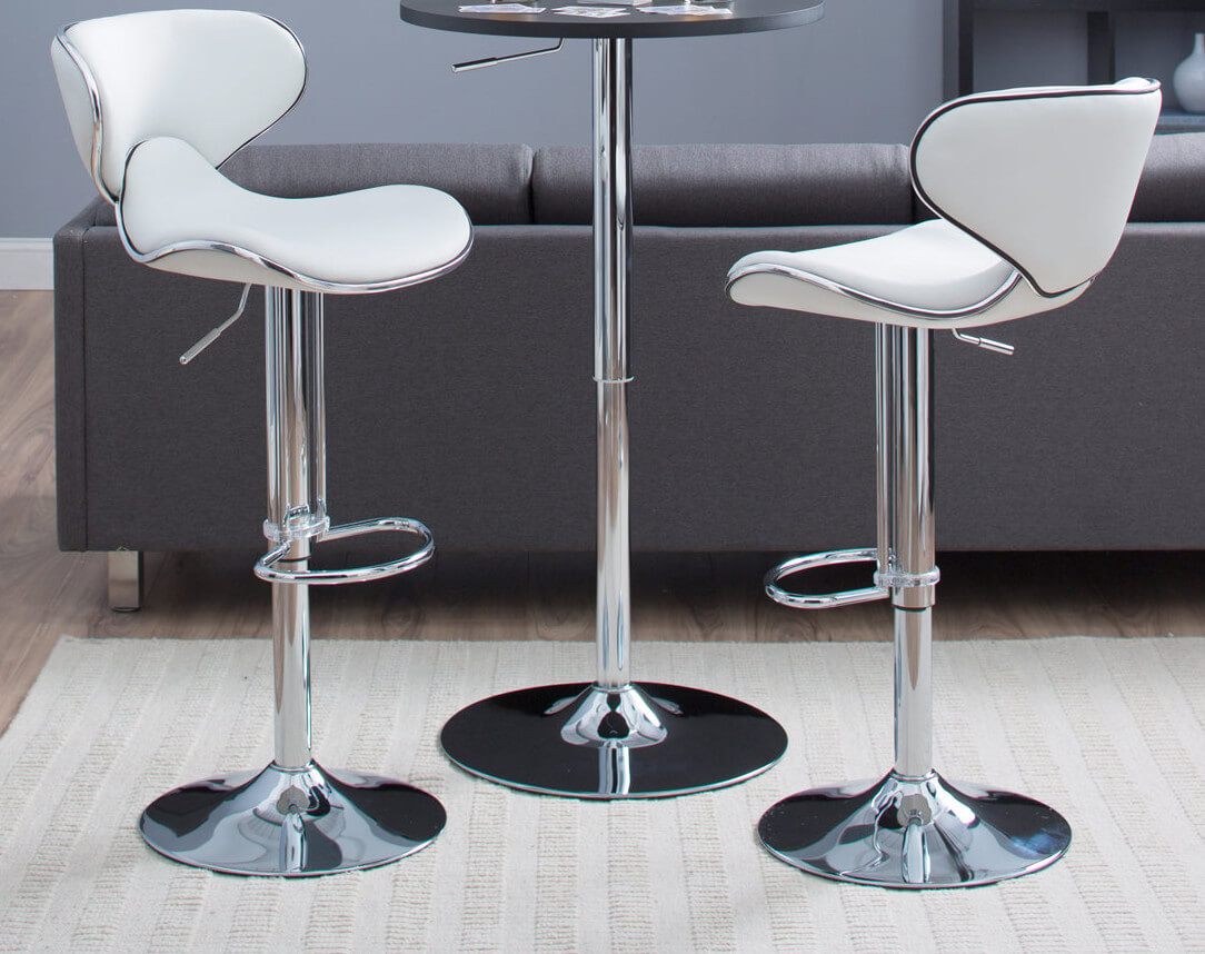 6way White Modern Leather Stools Jpg