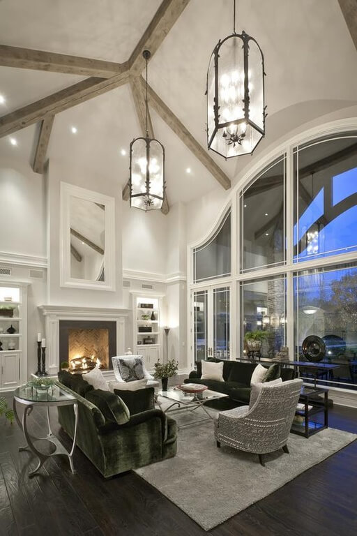 63 beautiful family room interior designs - Expansive large glass windows living room pros cons ...