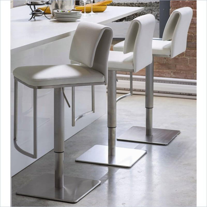 35 Stylish Modern Adjustable White Leather Bar Stools : 9cym white adjustable leather bar stools with backs from www.homestratosphere.com size 800 x 800 jpeg 61kB
