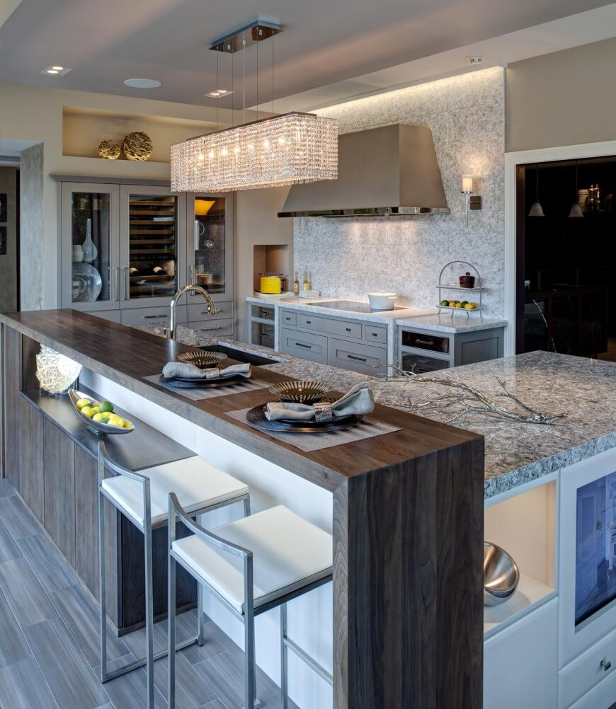 32 magnificent custom luxury kitchen designs by drury design for Modern kitchen design with bar