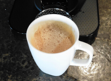 Coffee created by Nespress Vertuoline brewing system