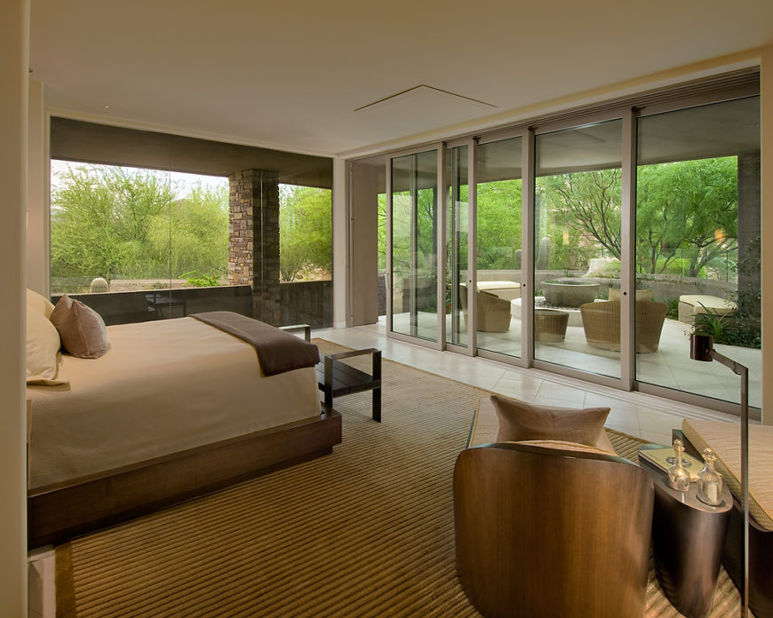 Soft desert contemporary home by angelica henry design for Floor to ceiling glass panels