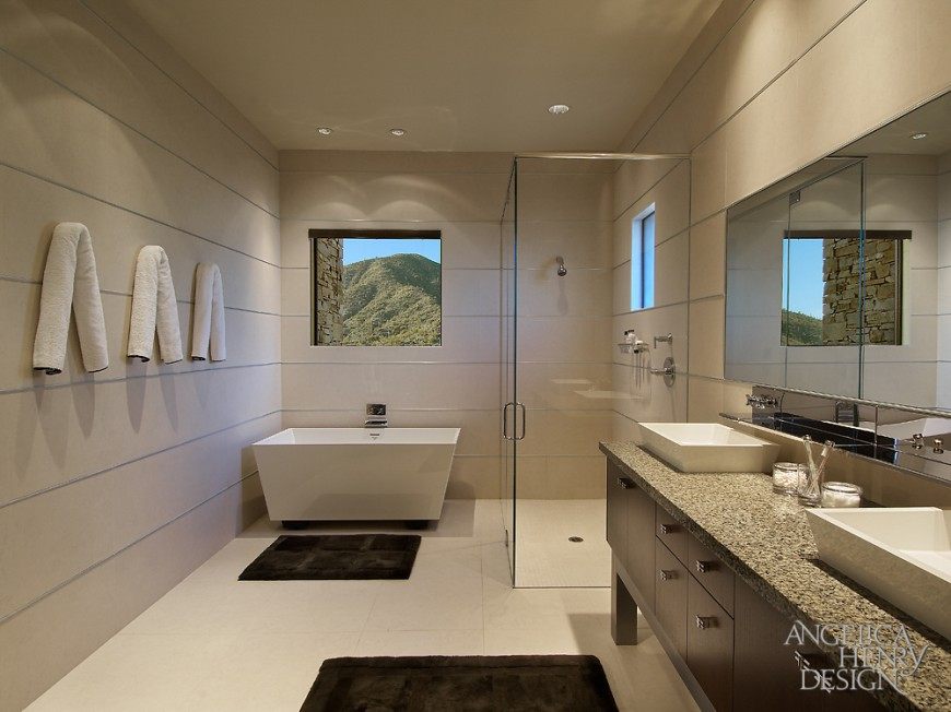 Contemporary desert home interior design by angelica henry for Modern guest bathroom designs