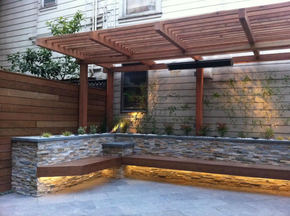 Superb Patio With Built In DIY Bench.