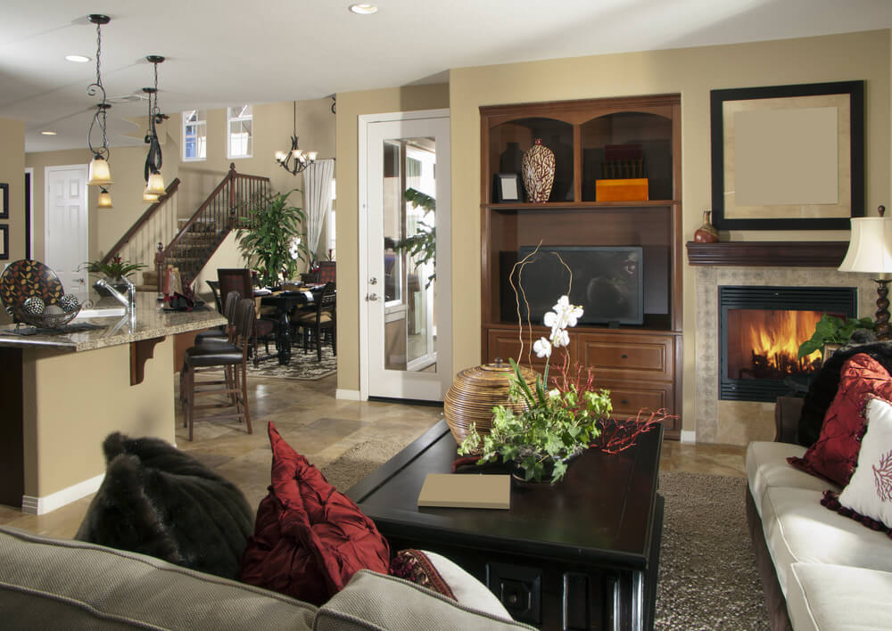 63 beautiful family room interior designs for Living room next to kitchen