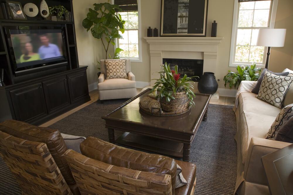 Another Cozy Living Room This Example Features Contrast Between Dark