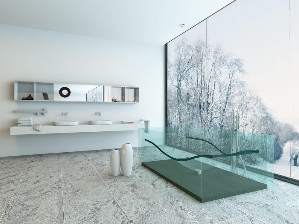 muted tones inform this bathroom striking allglass free standing
