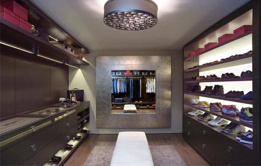 13 ultra luxurious walk in closet designs by lisa adams for Men s walk in wardrobe