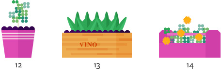 Illustration of wooden flower planter
