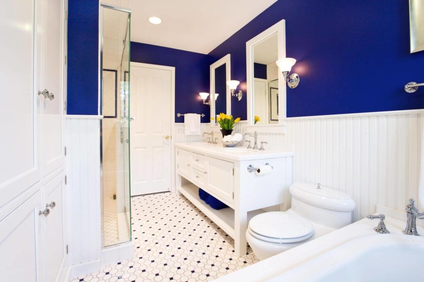 The high contrast scheme of upper blue and lower white tones is reflected in the intricate floor tile pattern.