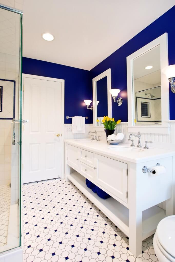 cobalt blue bathroom tile small master bath with a big vision by drury design 17787