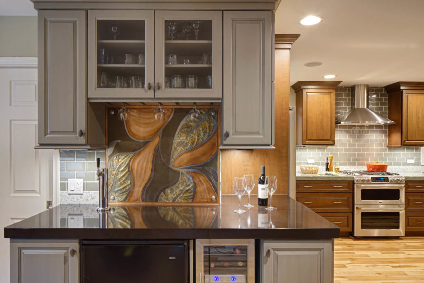 This Open Design Kitchen Bar Station Centers Around A Carved Art Piece,  Seen At Center