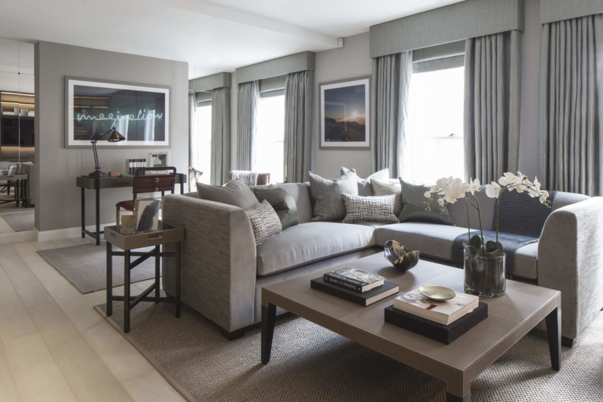 The Open Design Living Room Layers A Series Of Neutral Grey Tones Over The  Lightly Bleached