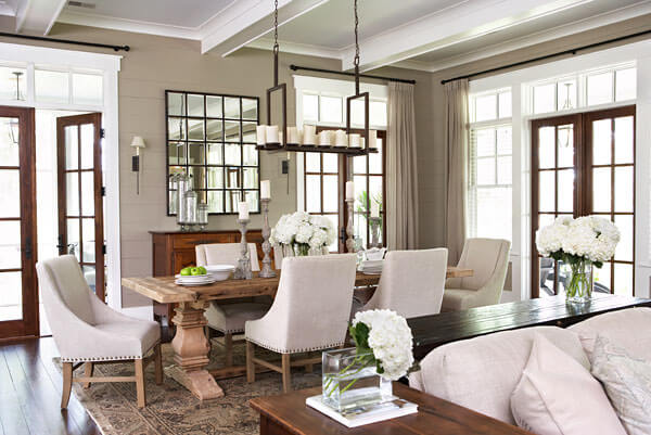 Rustic Dining Table With Plush Chairs Wooden Side Tables Separate Room From Living