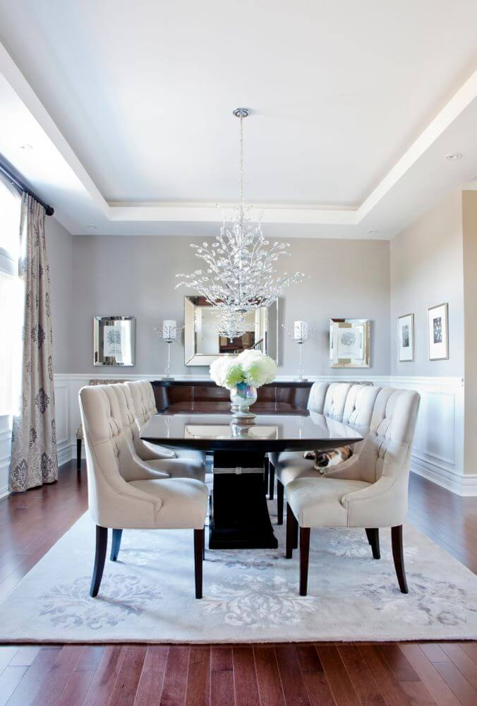 glossy contemporary dining table matched with plush dining chairs patterned curtains match the cream rug - Dining Chairs In Living Room
