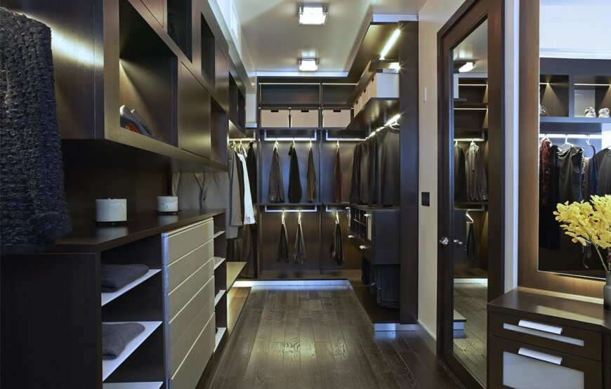 This Look At The Closet Reveals Dark Hardwood Flooring Perfectly Paired With Shelving Throughout