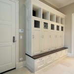 Large mudroom with white wood lockers