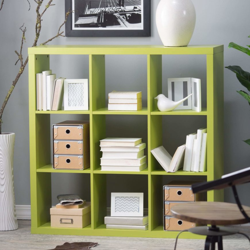 Cube bookcases, as the name implies, feature a series of cubic spaces to  store .