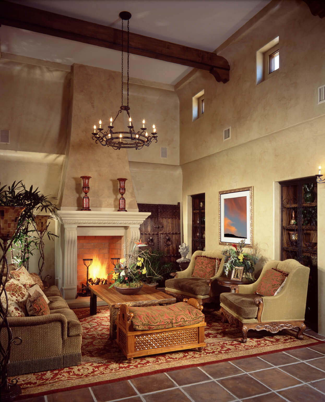 Brick Backed Open Fireplace With Ornate Mantle Heavy Wood Doors And