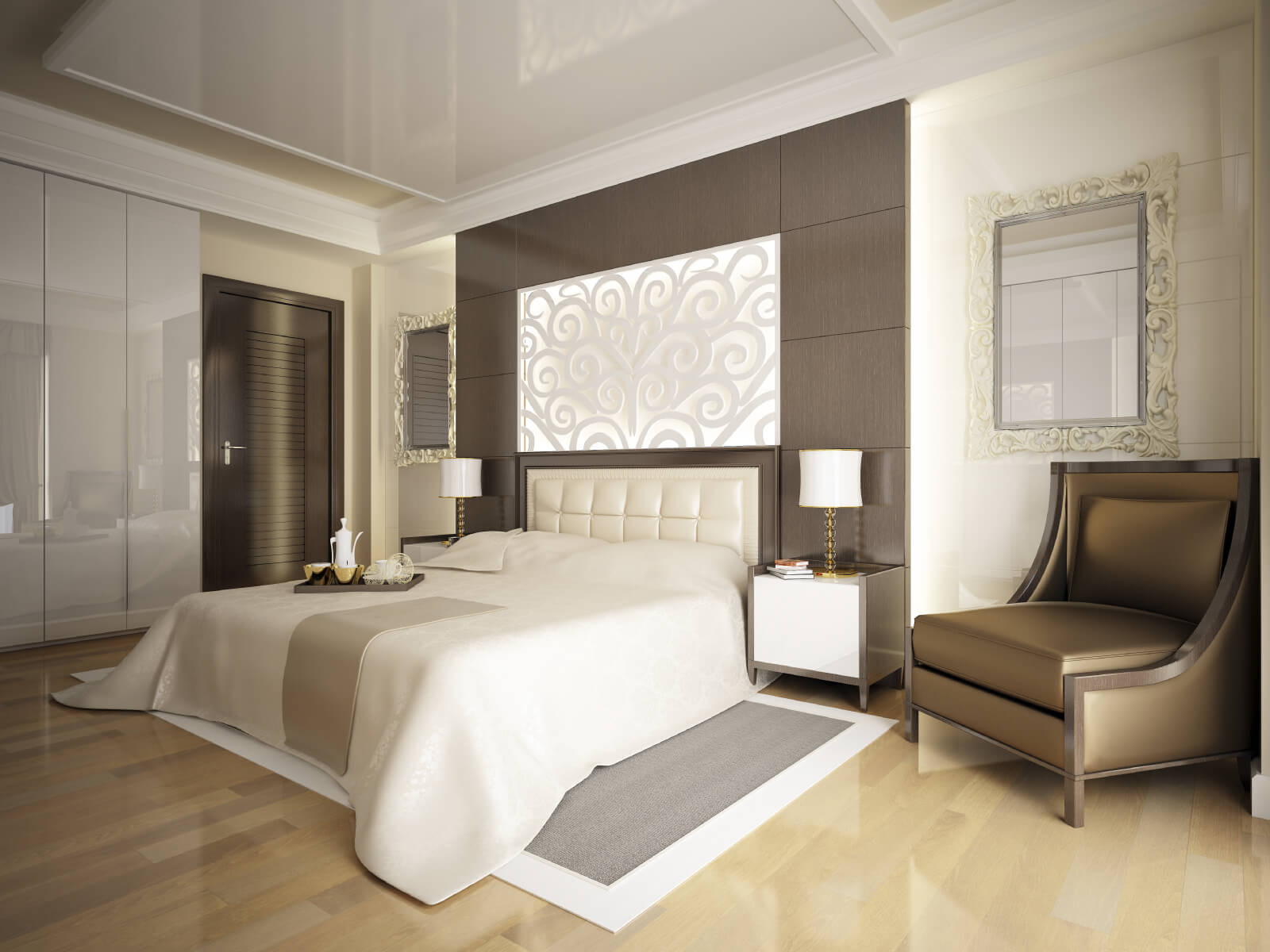 smooth lines and a neutral color palette add elegance to this hardwood floored master bedroom bedroom colors brown furniture