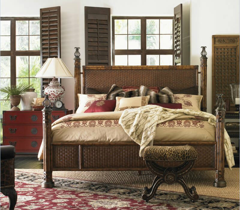 Woven Rattan Bed Frame