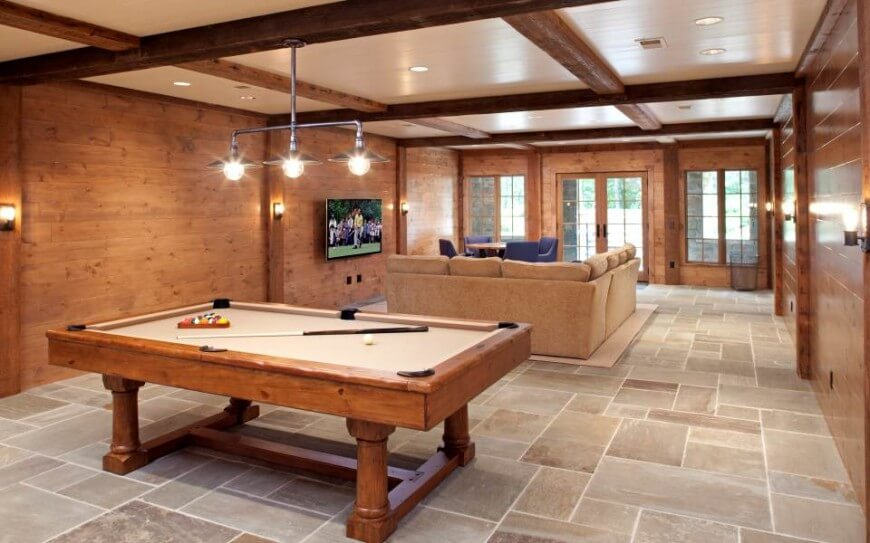 Billiard Room Wall Lights : Sumptuous Northern Wisconsin Cabin by John Kraemer and Sons