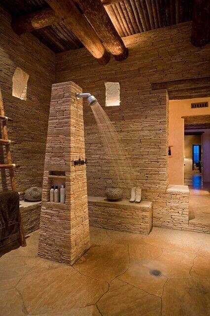 This unique bathroom is all stacked stone  stone floors and wood  The  shower consists. 32 Pictures of Incredible Bathrooms by Top Interior Designers