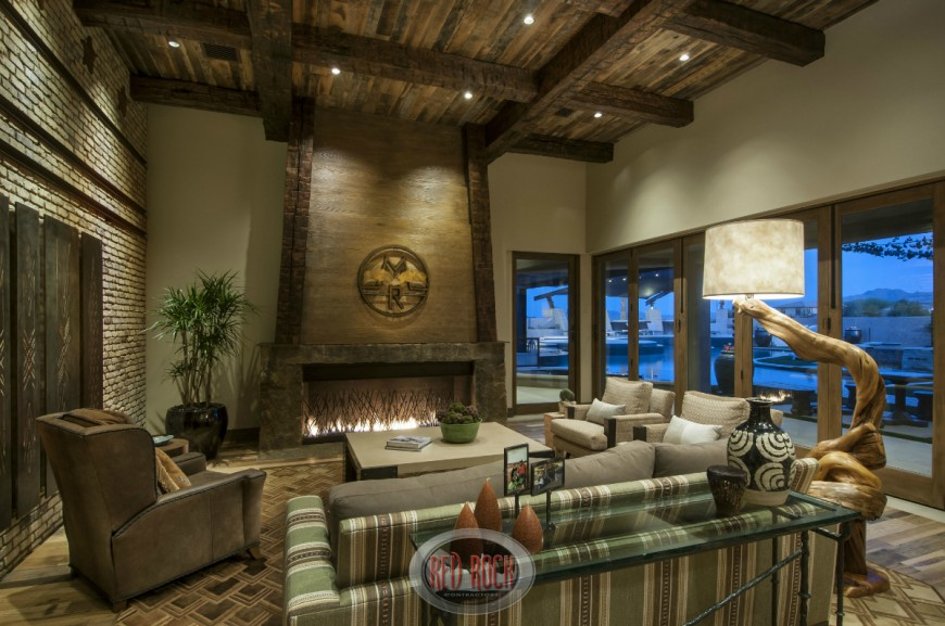 Incredible Interior Of Home incredible interior home photos in home Rustic Family Room Design With Elevated Wood Beamed Ceiling And Gas Fireplace