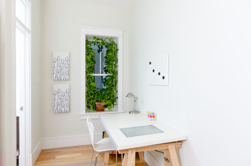 A small office nook is brightened by climbing vines in the window.