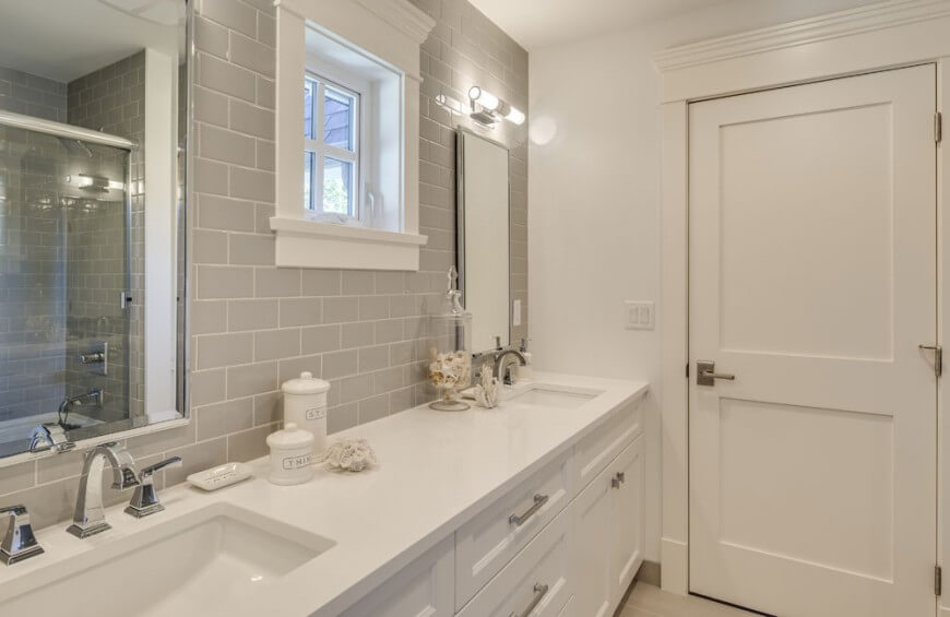 Affordable Gray Subway Tile Backsplash Contrasts Subtly With The White  Vanity And Walls With Bathroom Subway Tile Backsplash.