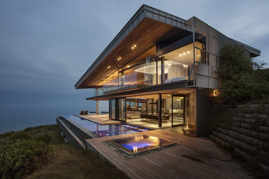 Dazzling Cliff Top Modern Wood Glass And Concrete Home By