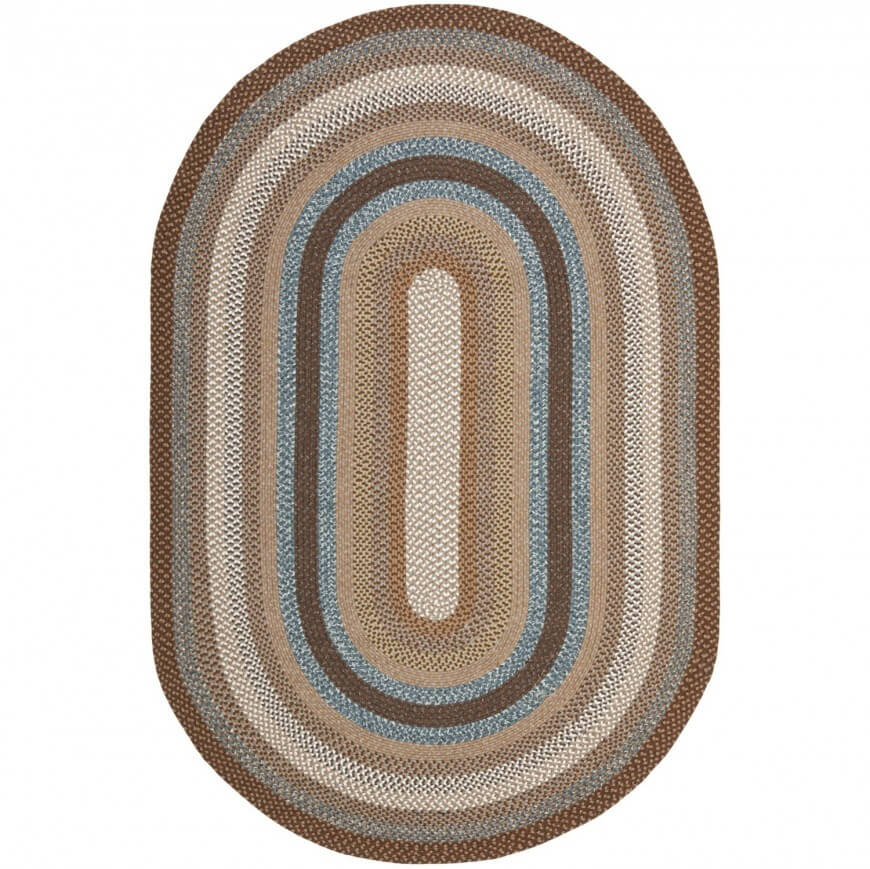 Hand-woven rugs used to be a household staple before modern manufacturing made pile the most popular approach. Woven rugs will often feature concentric circular patterns, with a thick texture. Our featured oval example holds a varying color pattern.