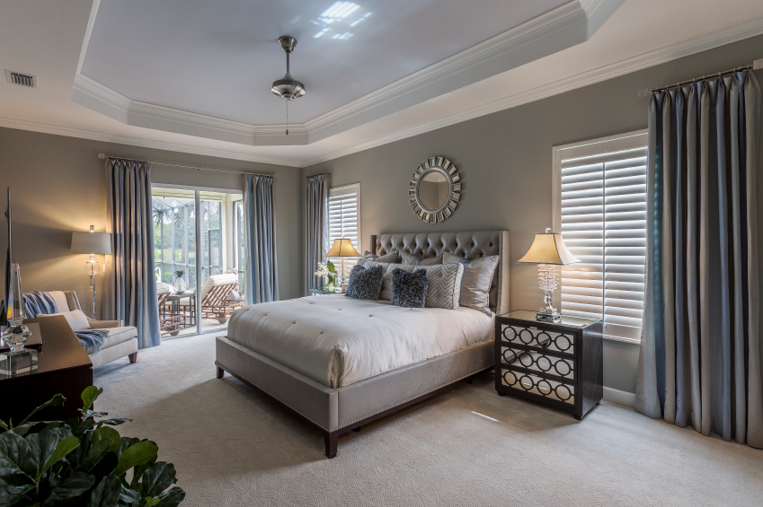 neutral bedroom design scheme presenting large   44 Stylish Master Bedrooms with Carpet