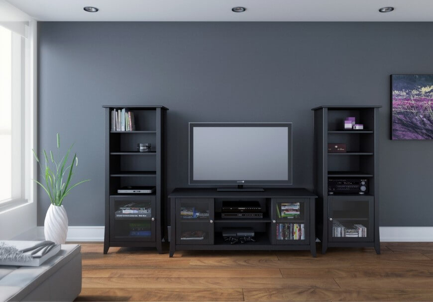 The TV Stand With Audio Towers Is A Modular Form That Mimics Most Of Functionality