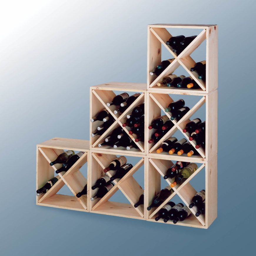 Like modular design wine racks, stackable variants are meant to grow right along with your bottle collection. With square or rectangular frames, these racks can be stacked vertically to create ever-larger storage space.