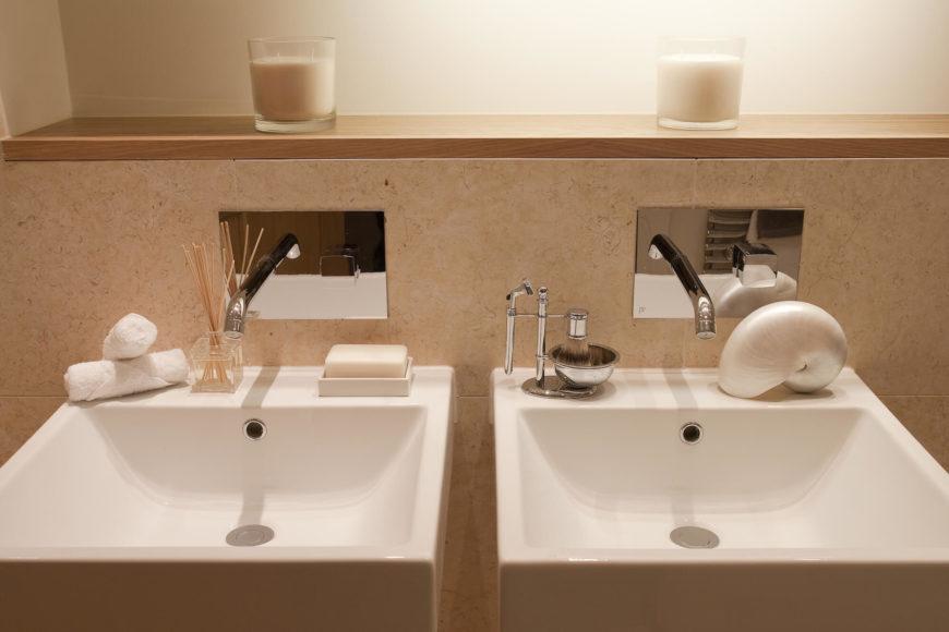 Modern luxury hans place project by roselind wilson design for Floating pedestal sink