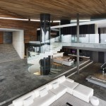 Huge great room and foyer in modern wood and glass mansion by SAOTA
