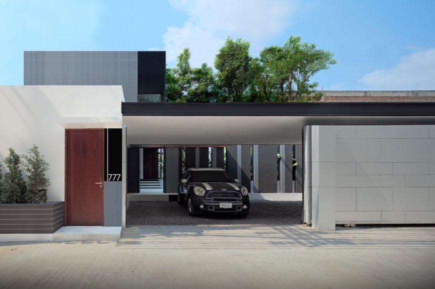 Улицу и структура домов этот сдержанный гараж, с открытой спиной дизайн, ведущей в домашней структуре.