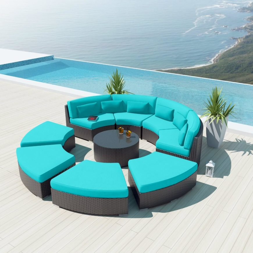 This Bold Patio Sectional Sets Bright Blue Cushioning Over Black Rattan  Construction, Placing An Entire .