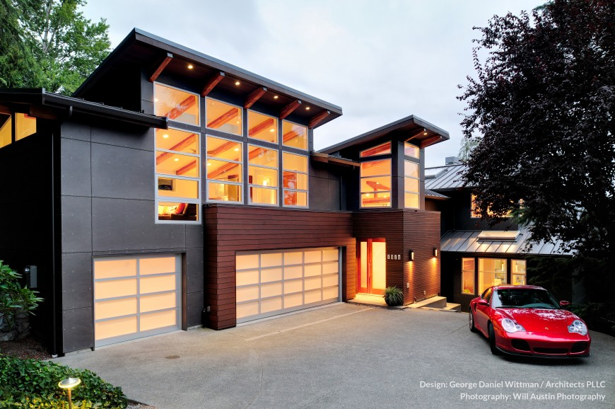 Modern westcoast waterfront home design mercer island for Waterfront home design ideas
