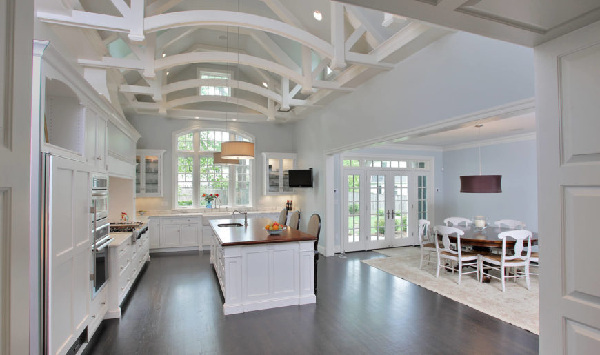 Custom White Kitchens Luxury Custom White Kitchen Design With Dark Wood Floor