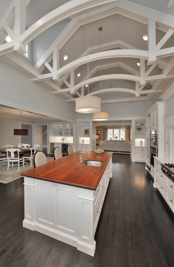 Luxury custom white kitchen design with dark wood floor for Opposite of floor