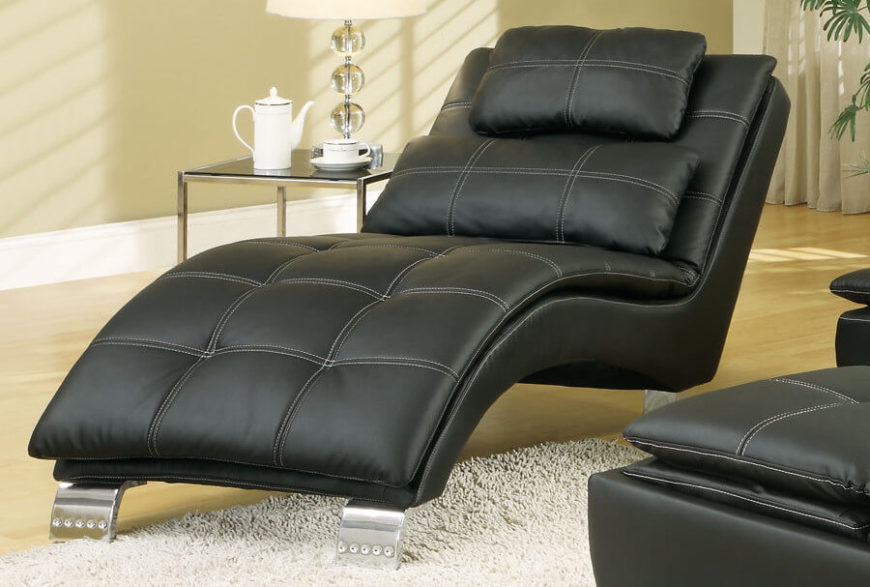 Amazing Black Leather Modern Chaise Lounge For The Living Room