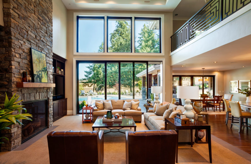 Stately contemporary rustic interior design home by for Open concept interior design