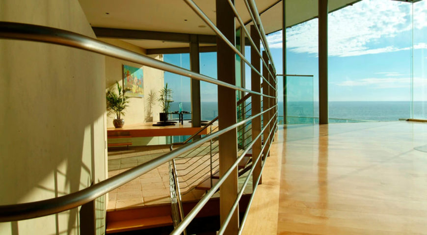 Each floor consists of a series of layers at varying heights, which allows for a range of views within and without the home.