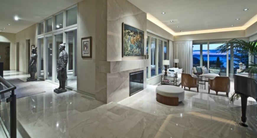 Blue Glass Living Room Light