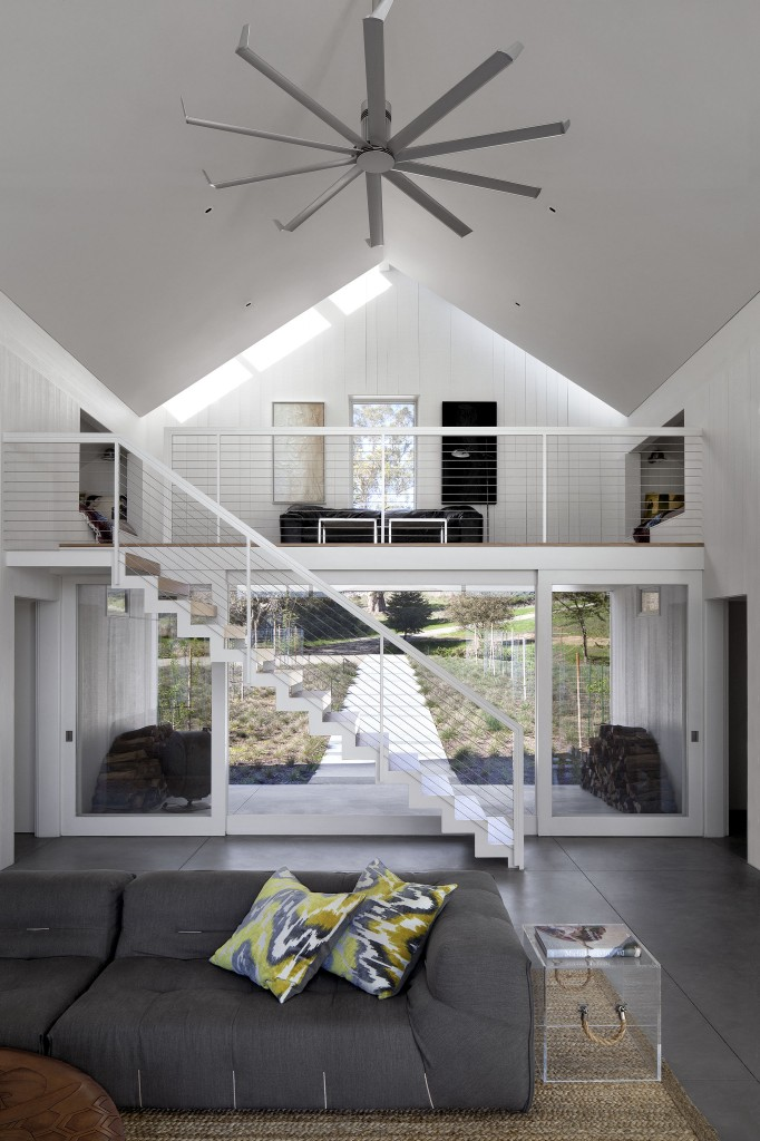 The Two Story Living Room Also Holds This Loft Area Above Doorway With