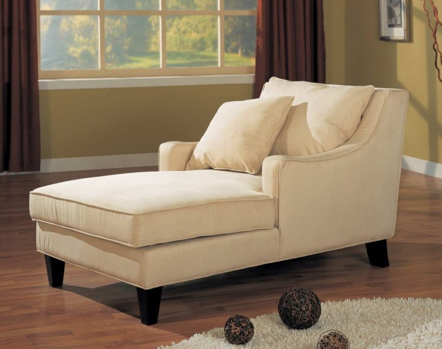 this light beige chaise features a full club chair style backing with lengthy seat area - Living Room Chair Styles