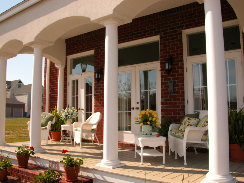 elegant front porch with columns and no railing